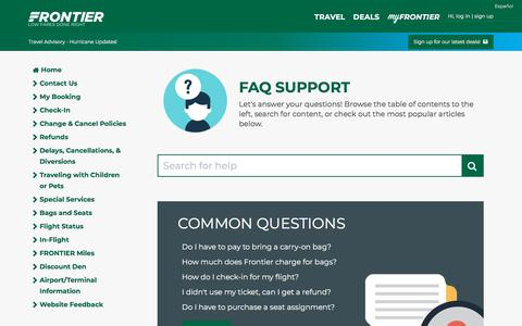 Screenshot of FAQ Page flyfrontier.com - Tips and FAQ's | Frontier Airlines - captured Sept. 21, 2018