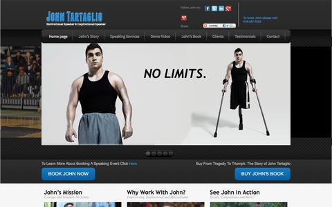 Screenshot of Home Page johntartaglio.com - Motivational Speaker - Inspirational Speaker | John Tartaglio - captured Feb. 11, 2016