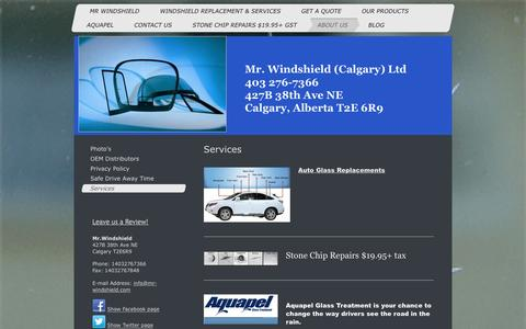 Screenshot of Services Page mr-windshield.com - Mr. Windshield Calgary. Automotive Windshield replacements and repairs - Services - captured Feb. 16, 2016