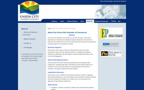 Screenshot of About Page unioncitychamber.com - About the Union City Chamber of Commerce - Union City Chamber of Commerce - captured Jan. 15, 2017