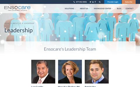 Screenshot of Team Page ensocare.com - Leadership Team | Ensocare - captured April 10, 2018