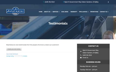 Screenshot of Testimonials Page autocentercda.com - Dalton Gardens Auto Repair Reviews: Auto Center Northwest | Auto Repair Dalton Gardens, ID, Idaho | Dalton Gardens Best Auto Shop - captured Oct. 4, 2018