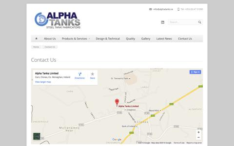 Screenshot of Contact Page alphatanks.ie - Contact Us - Alpha Tanks - captured Feb. 5, 2016