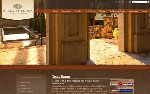 Screenshot of Press Page bellacollina.com - News Room - Bella Collina - captured Feb. 7, 2016
