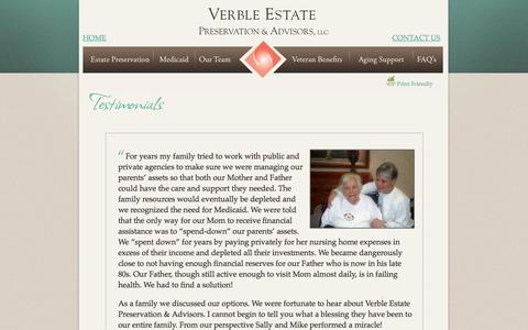 Screenshot of Testimonials Page verbleseniorsolutions.com - Verble Estate Preservation & Advisors, LLC. - captured Feb. 23, 2016