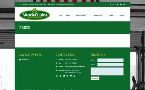 Screenshot of Press Page musclecuisine.com - Press | MuscleCuisine™ - captured Oct. 7, 2014