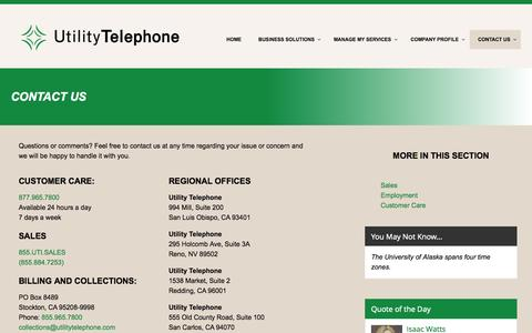 Screenshot of Contact Page utilitytelephone.com - Contact Us - Utility Telephone - captured Oct. 29, 2014