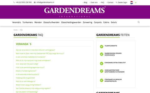 Screenshot of FAQ Page gardendreams.nl - FAQ - Gardendreams - captured Oct. 26, 2016