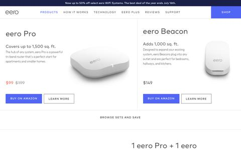 Screenshot of Products Page eero.com - Shop eero Home WiFi Systems | eero - captured July 16, 2019
