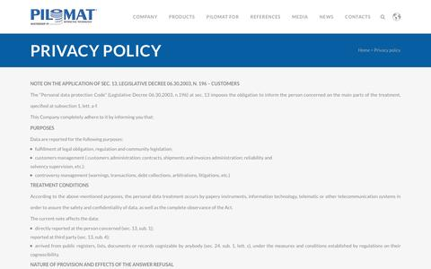 Screenshot of Privacy Page pilomat.com - Pilomat |   Privacy policy - captured Dec. 9, 2015