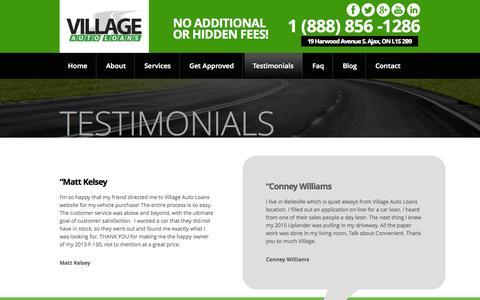 Screenshot of Testimonials Page villageautoloans.com - Testimonials - captured Oct. 7, 2014
