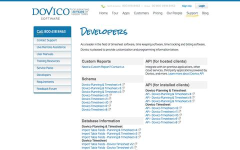 Screenshot of Developers Page dovico.com - Free Developers Information for Time Keeping Software, Timesheet Tracking and Billing Software by DOVICO - captured Oct. 10, 2014
