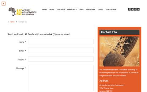 Screenshot of Contact Page africanconservation.org - Contact Us - African Conservation Foundation - captured Jan. 18, 2016