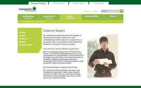 Screenshot of Support Page evergreenpackaging.com - Customer Support - captured July 16, 2016