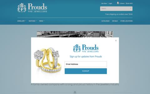 Screenshot of About Page prouds.com.au - Prouds The Jewellers - captured Sept. 19, 2017