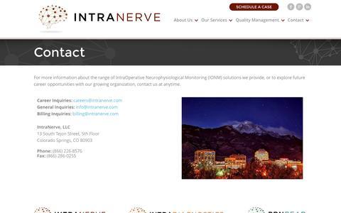 Screenshot of Contact Page intranerve.com - Contact | IntraNerve IONM - captured Aug. 6, 2016