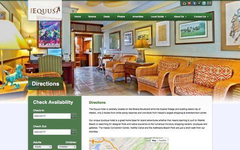 Screenshot of Maps & Directions Page equushotel.com - Directions- Honolulu Hotel - captured Oct. 6, 2014