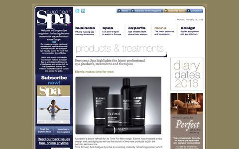 Screenshot of Menu Page europeanspamagazine.com - The Latest Products and Treatments - European Spa Magazine - captured Feb. 15, 2016