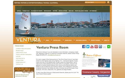 Screenshot of Press Page ventura-usa.com - Ventura Press Resources - Media Releases, Images, History - Ventura Visitors & Convention Bureau - captured Sept. 18, 2014