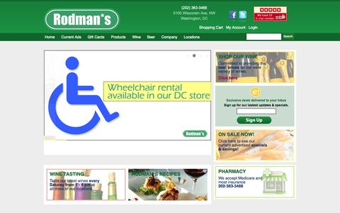Screenshot of Home Page Products Page rodmans.com - Wine Shop in Friendship Heights Washington, DC 20016 - Rodman's - captured Oct. 25, 2014