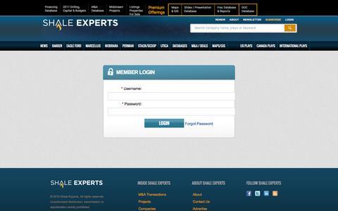 Screenshot of Login Page shaleexperts.com - Shale Experts -  Member Login - captured Dec. 21, 2016