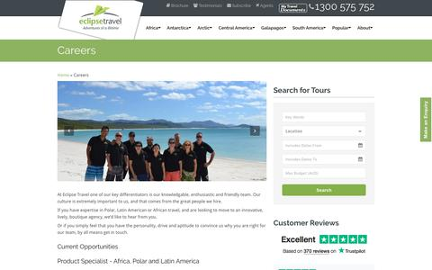 Screenshot of Jobs Page eclipsetravel.com.au - Travel Careers - Eclipse Travel - captured July 16, 2018