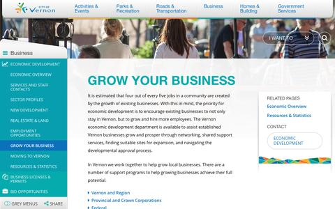 Screenshot of vernon.ca - Grow Your Business | City of Vernon - captured April 18, 2016