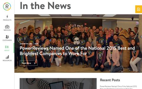 Screenshot of Press Page powerreviews.com - In the News � PowerReviews - captured Jan. 12, 2016