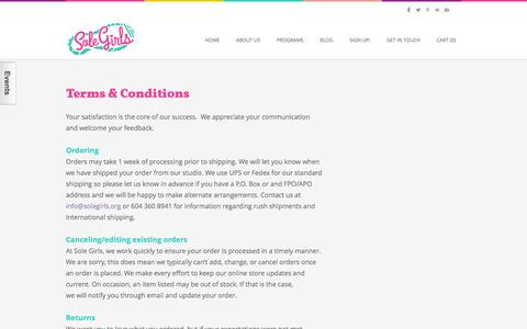 Screenshot of Terms Page solegirls.org - Terms & Conditions - Sole Girls - captured Jan. 11, 2016