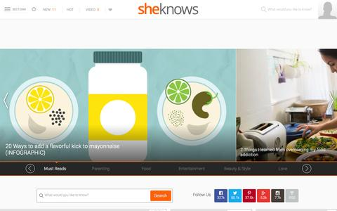 Screenshot of Home Page sheknows.com - SheKnows | Entertainment, Recipes, Parenting & Love Advice - captured Jan. 10, 2016