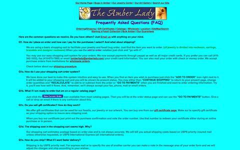 Screenshot of FAQ Page amberlady.com - The Amber Lady FAQ - captured April 9, 2017