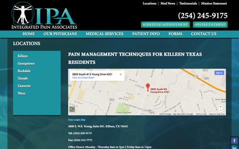 Screenshot of Locations Page ipaclinic.com - Killeen - captured Oct. 6, 2014