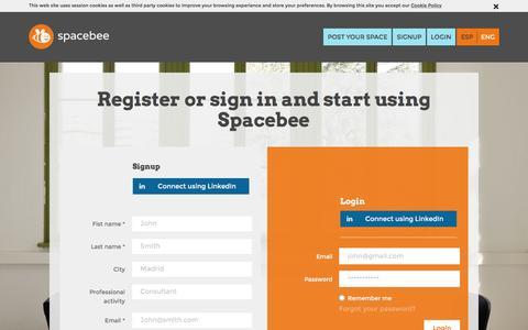 Screenshot of Login Page spacebee.com - Spacebee | Register or sign in and start using Spacebee - captured Jan. 11, 2016