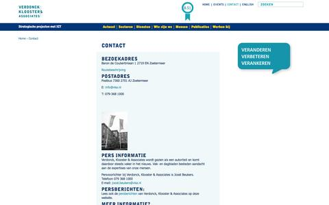 Screenshot of Contact Page vka.nl - Contact | Verdonck, Klooster & Associates - captured Oct. 9, 2014
