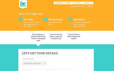 Screenshot of Signup Page beintent.com - BE Intent - captured Oct. 29, 2014