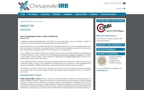 Screenshot of About Page chesapeakeirb.com - Institutional Review Board (IRB) Consulting Agency | Chesapeake IRB - captured Sept. 29, 2014