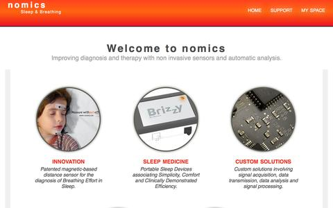 Screenshot of Home Page nomics.be - Nomics ∴ Nomics - Sleep and Breathing - captured May 10, 2017