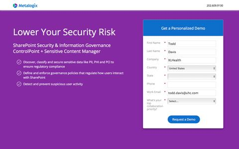 Screenshot of Landing Page metalogix.com - Lower Your SharePoint Security Risk | Metalogix - captured March 29, 2018
