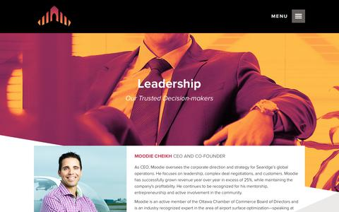 Screenshot of Team Page searidgetech.com - Leadership | Searidge Technologies - Leader in Remote Tower and Airport Surface Optimization Solutions - captured Oct. 19, 2017