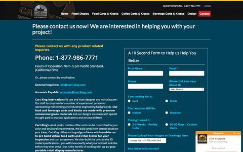Screenshot of Contact Page cart-king.com - Contact Cart and Kiosk Manufacturer and Fabricator, Cart-King - captured Feb. 5, 2018