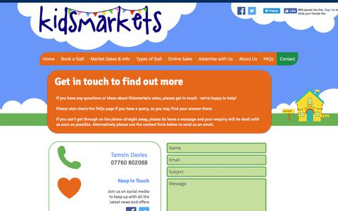 Screenshot of Contact Page kidsmarkets.co.uk - Kidsmarkets | Contact - captured June 9, 2017