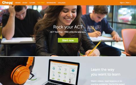 Screenshot of chegg.com - ACT Test Prep | Chegg.com - captured March 18, 2016