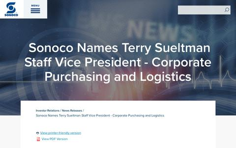 Screenshot of Press Page sonoco.com - Sonoco Names Terry Sueltman Staff Vice President - Corporate Purchasing and Logistics | Sonoco - captured Nov. 5, 2019