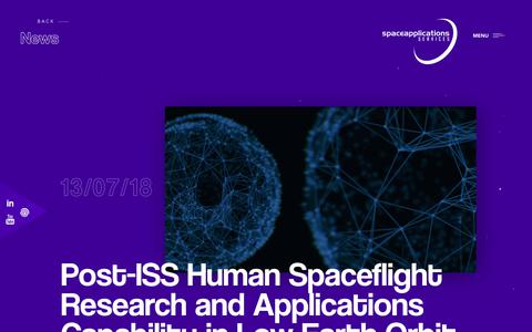 Screenshot of Press Page spaceapplications.com - Space Applications - captured Oct. 19, 2018