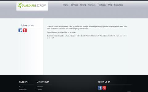 Screenshot of About Page guardianescrow.net - About | Guardian Escrow - captured Sept. 30, 2014