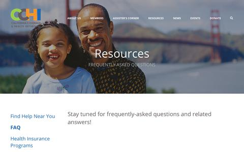 Screenshot of FAQ Page cchi4families.org - California Coverage & Health Initiatives : Resources : FAQ - captured Sept. 26, 2018