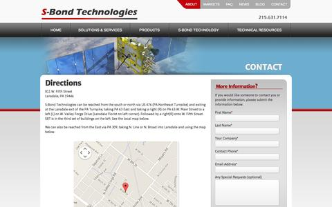 Screenshot of Maps & Directions Page s-bond.com - Directions | S-Bond Technologies | Aluminum Brazing, Bonding-Soldering » S-Bond - captured Oct. 3, 2014