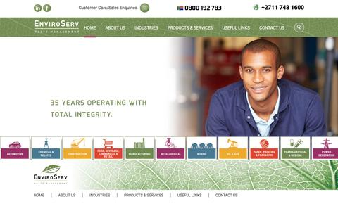 Screenshot of Home Page enviroserv.co.za - EnviroServ   Waste Management - captured Dec. 6, 2015