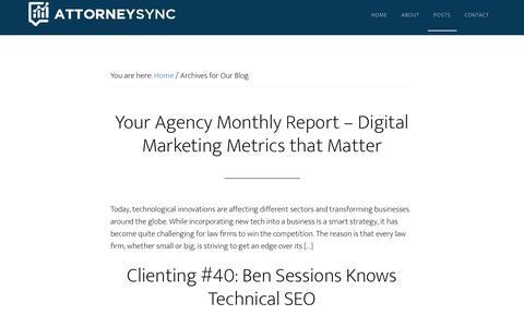 Screenshot of Blog attorneysync.com - Online Legal Marketing by AttorneySync - captured Aug. 14, 2019