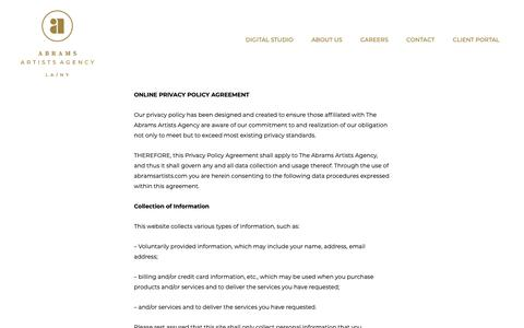 Screenshot of Privacy Page abramsartists.com - Privacy Policy | Abrams Artists Agency - captured May 31, 2019